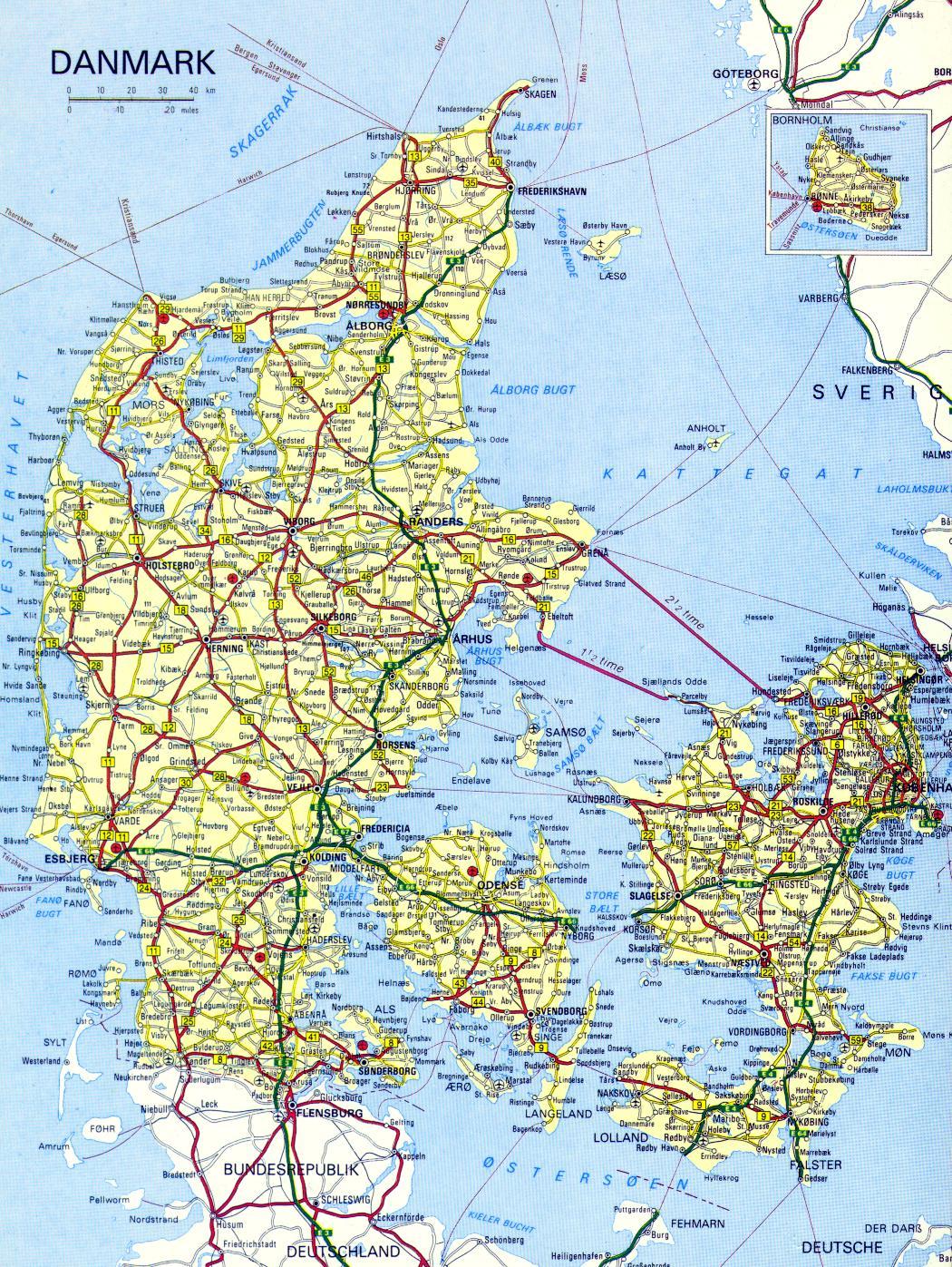 Denmark Online Maps Geographical Political Road Railway - Denmark map